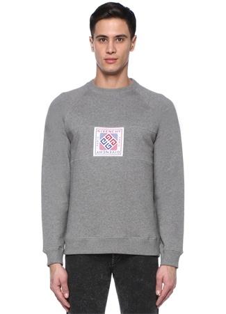 Gri Bisiklet Yaka Logo Patchli Sweatshirt