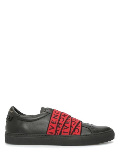 Urban Street Siyah Logo Bantlı Erkek Deri Sneaker
