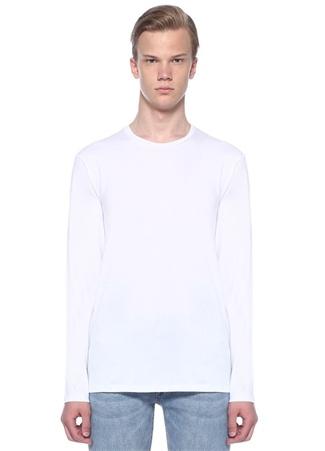 Beyaz Bisiklet Yaka Basic Sweatshirt