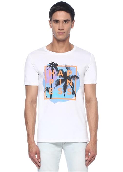 Splendido Beyaz Bisiklet Yaka Baskılı Basic Tshirt