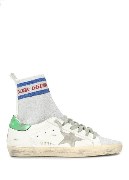 Superstar Beyaz Çorap Detaylı Kadın Deri Sneaker