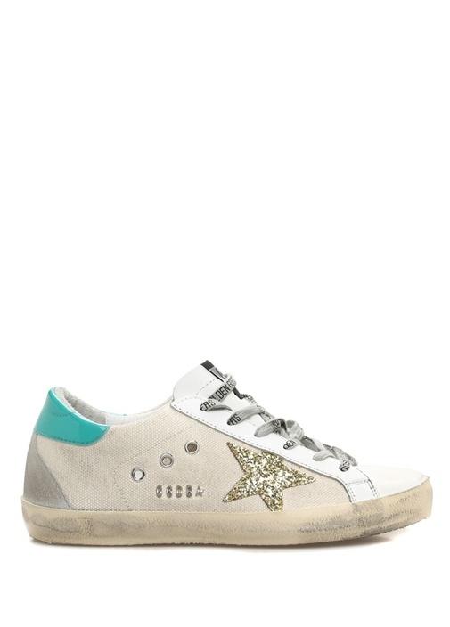 Star Ekru Patchli Logolu Kadın Kanvas Sneaker