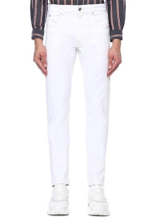 Kanh Beyaz Normal Bel Boru Paça Jean Pantolon