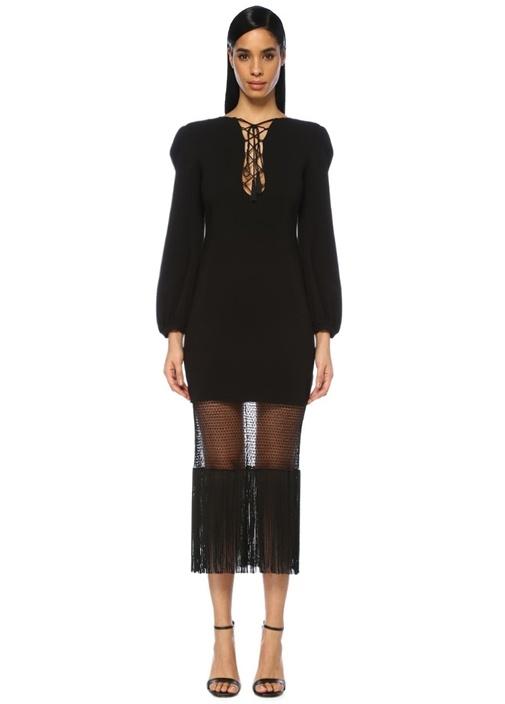 Dundas Siyah Önü Bağcıklı Püsküllü Uzun Kol Midi Elbise – 7443.0 TL