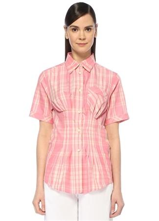 Emily Pembe Ekoseli Pile Detaylı Yarım Kol Gömlek