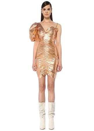 Kadın Talma Rose Gold Asimetrik Drapeli Mini Elbise Altın Rengi 38 IT