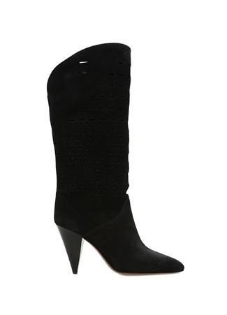 1fe6e056270fe Lurrey Siyah Lazer Kesimli Kadın Süet Çizme