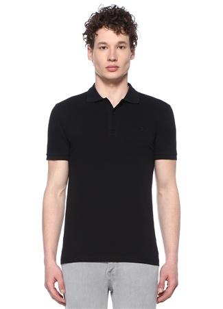 Slim Fit Siyah Polo Yaka Logolu T-shirt