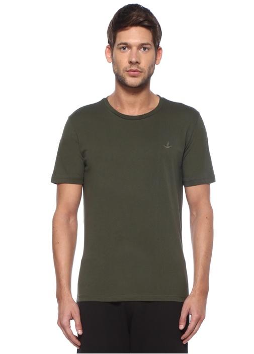 Haki Bisiklet Yaka Logolu Basic T-shirt