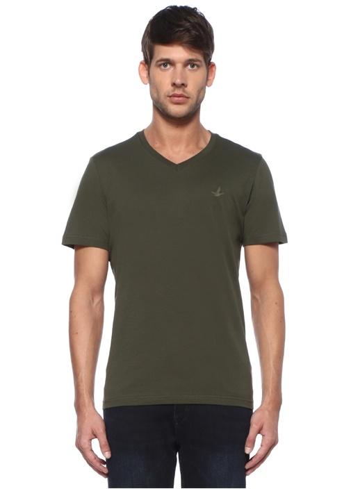 Haki V Yaka Logolu Basic T-shirt