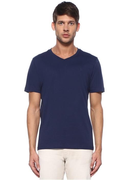Lacivert V Yaka Logolu Basic T-shirt