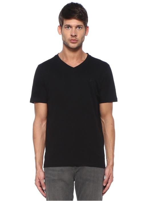 Siyah V Yaka Logolu Basic T-shirt