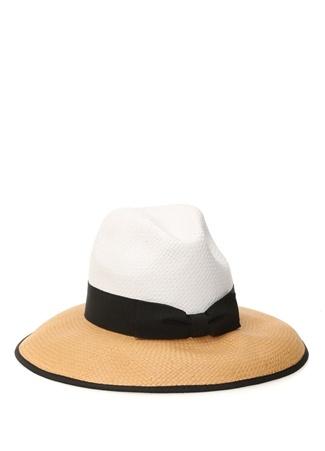 Kadın Beyaz Bej Hasır Görünümlü Şapka EU