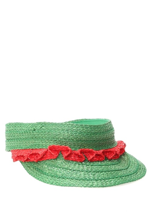 Yeşil Kırmızı Fırfır Detaylı Kadın Şapka