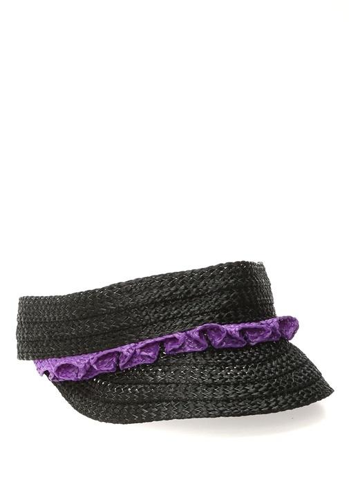 Siyah Mor Fırfır Detaylı Kadın Şapka