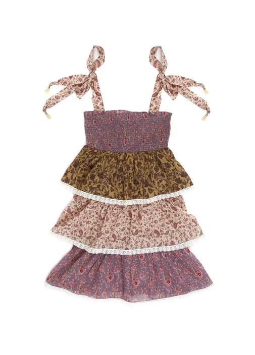 Juniper Shirred Tiered Desenli Kız Çocuk Elbise
