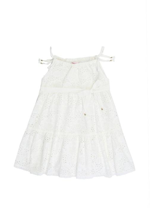 Juniper Tie Beyaz Dantelli Kız Çocuk Elbise