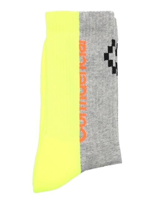 Neon Sarı Gri Logo Jakarlı Erkek Çorap