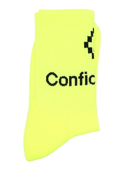 Neon Sarı Logo Jakarlı Erkek Çorap
