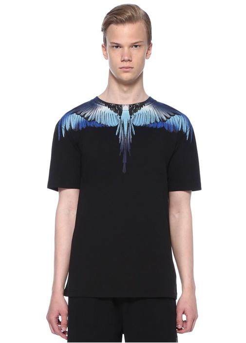 Wings Siyah Mavi Baskılı Basic T-shirt