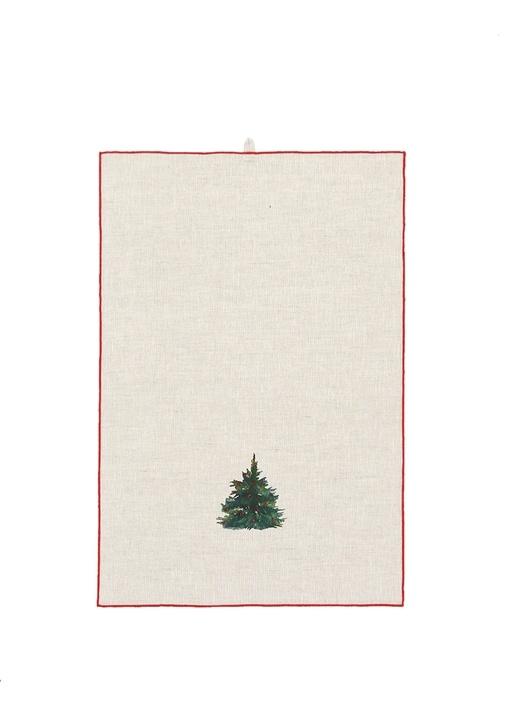 Bej Ağaç Desenli Biye Detaylı Keten Havlu