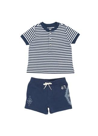 146eb1e7b0218 Polo Ralph Lauren Erkek Bebek 2li Lacivert Çizgili -shirt Seti Mavi 24 Ay