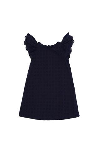 Kız Çocuk Lacivert Kolları Volanlı Dantel Elbise 10 Yaş EU