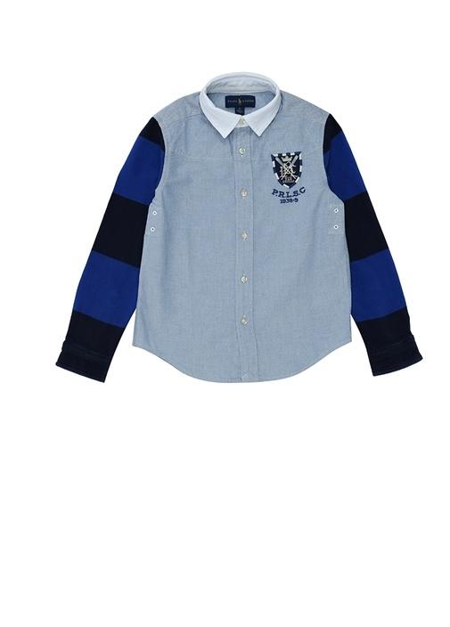 Mavi İngiliz Yaka Garnili Erkek Bebek Gömlek