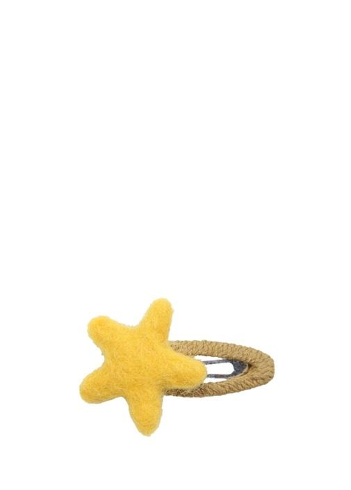Sarı Bej Yıldız Formlu Kız Çocuk Saç Aksesuarı