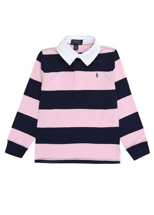 Pembe Polo Yaka Çizgili Erkek Çocuk Sweatshirt