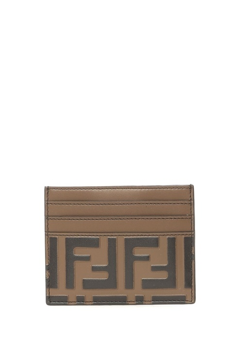 Kahverengi Logo Kabartmalı Erkek Deri Kartlık