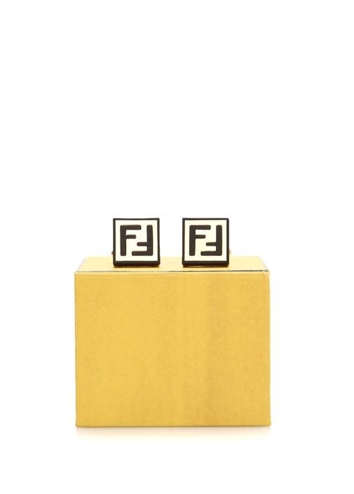 Gold Siyah Logolu Kare Formlu Kol Düğmesi