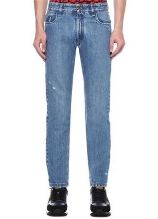 Slim Fit Mavi Yıpratmalı Logolu Jean Pantolon