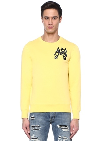 Alexander McQueen Erkek Sarı Bisiklet Yaka Lacivert Nakışlı Sweatshirt L Ürün Resmi