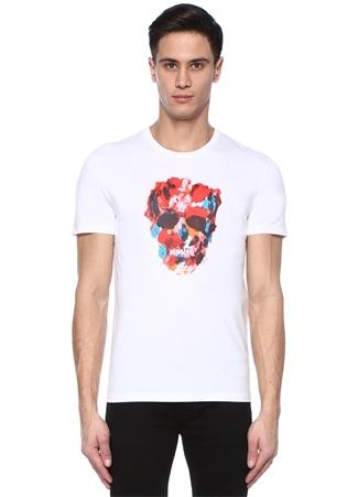 Erkek Beyaz Bisiklet Yaka Kuru Kafa Baskılı T-shirt S EU