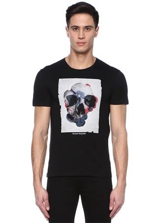 Siyah Bisiklet Yaka Kuru Kafa Baskılı T-shirt