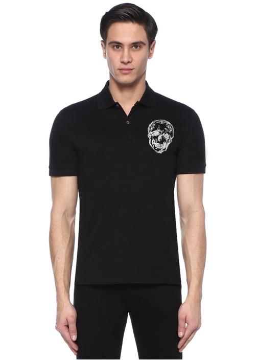 Siyah Kuru Kafa Nakışlı Polo Yaka T-shirt