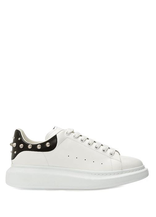Oversized Beyaz Troklu Erkek Deri Sneaker