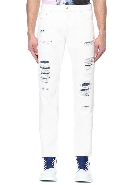 Beyaz Yüksek Bel Yıpratma Detaylı Jean Pantolon