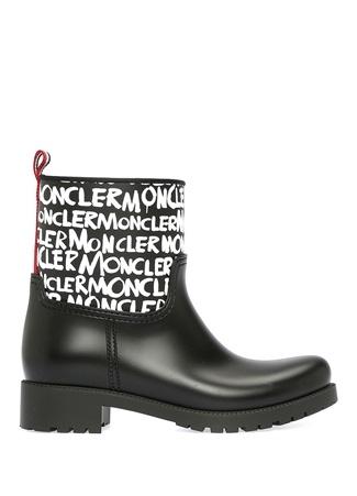 Moncler Kadın Ginette Siyah Logo Baskılı Yağmur Botu 38 EU