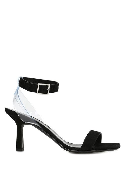 Siyah Transparan Bant Detaylı Kadın Süet Sandalet