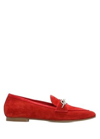 Blender Originated Kadın Kırmızı Zincir Detaylı Süet Loafer 39