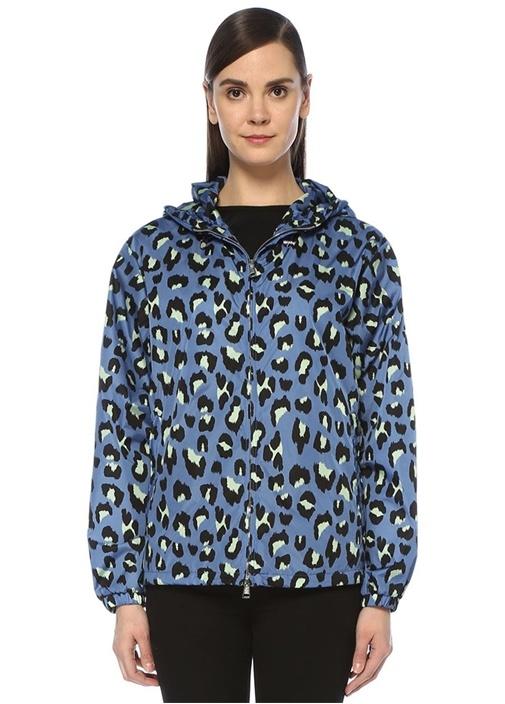 Moncler Lacivert Kapüşonlu Leopar Desenli Yağmurluk – 5750.0 TL