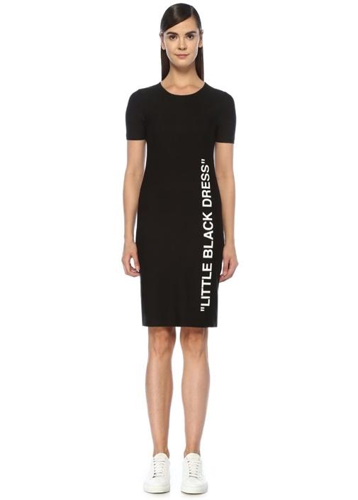 Siyah Yazı Baskılı Kısa Kol Midi Elbise