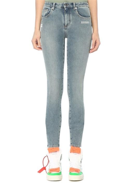 Normal Bel Logo Baskılı Skinny Jean Pantolon
