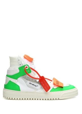 Beyaz Yeşil Renk Detaylı Kadın Deri Sneaker
