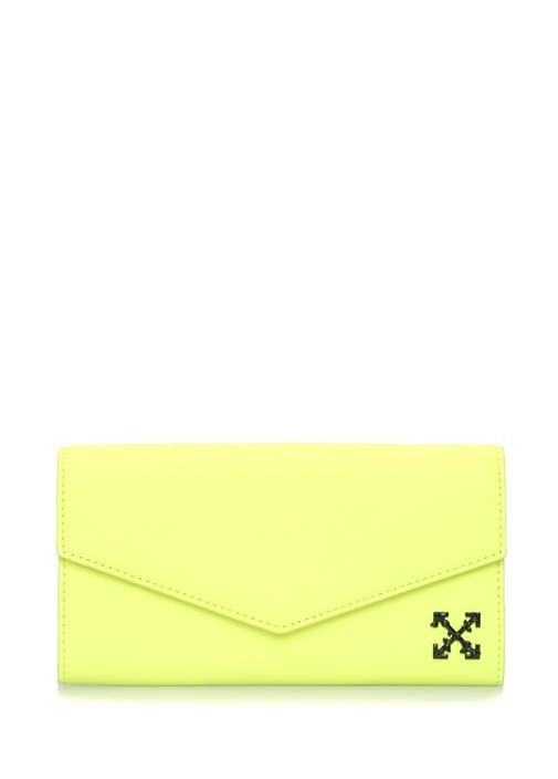 Off-whıte Neon Sarı Logolu Kadın Deri Cüzdan – 3799.0 TL