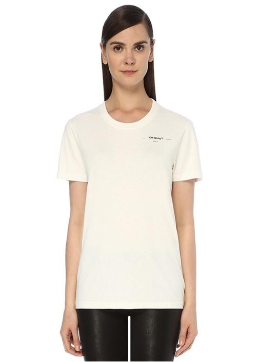 Hanna Leaves Ekru Baskılı T-shirt