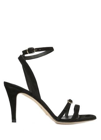 Siyah İnce Bantlı Kadın Süet Sandalet