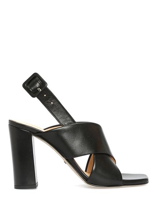 Siyah Çapraz Bant Detaylıı Kadın Deri Sandalet